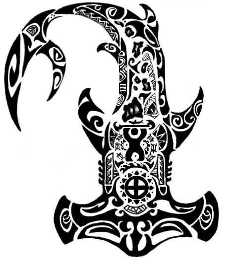 Black Polynesian Hammerhead Shark Tattoo Design