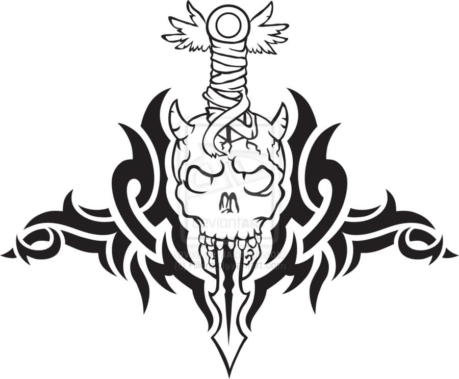 Black Samurai Sword In Skull Tattoo Stencil