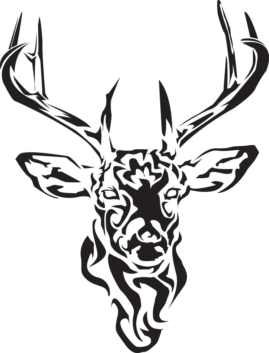 Tribal-Tattoos Black-Tribal-Deer-Tattoo-Design