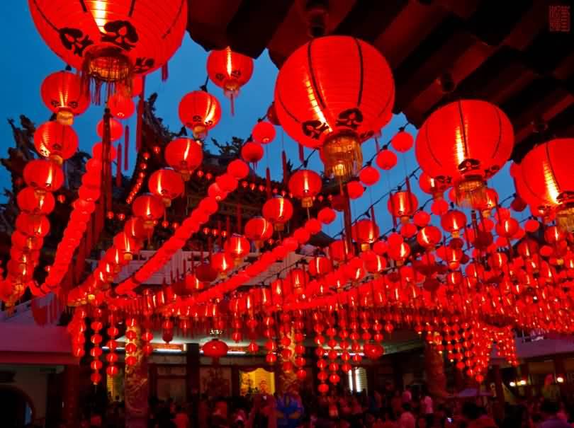 Chinese New Year Celebration Hanging Lanterns Decoration