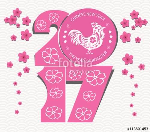 chinese new year wishes the year of rooster pink blossom background
