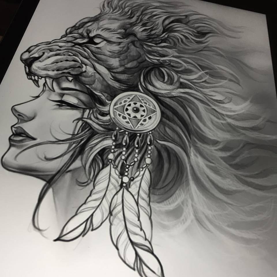 unique black ink lion head tattoo design