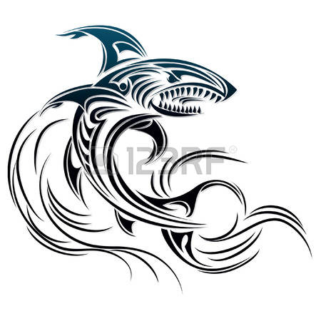 how to draw a shark tribal tatto design style