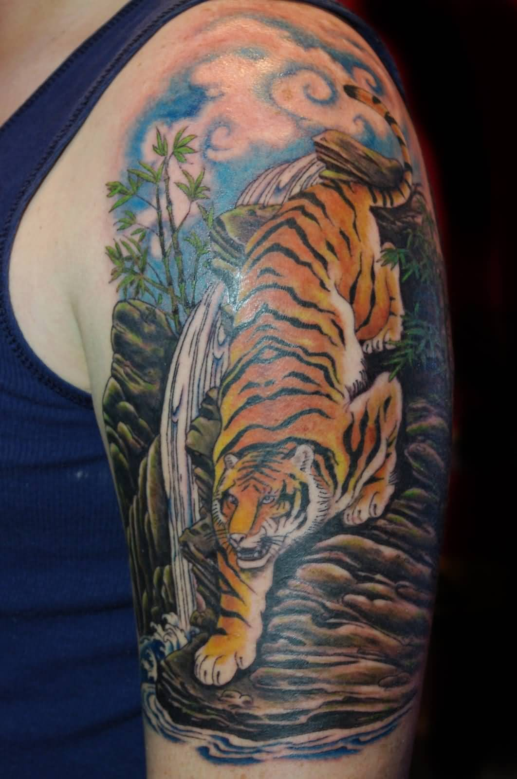 53 japanese tiger tattoos and ideas. Black Bedroom Furniture Sets. Home Design Ideas