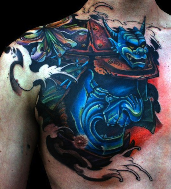 65ed3cda54da0 Cool 3D Samurai Head Tattoo On Man Right Chest