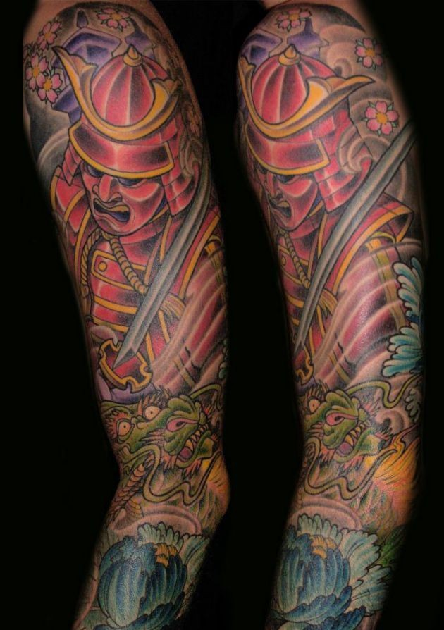 50 samurai warriors tattoos ideas and meanings for Japanese sleeve tattoos meanings