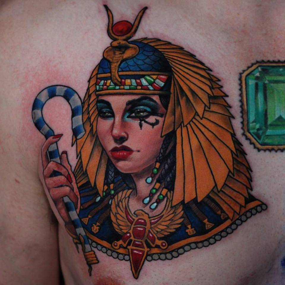 Cool Egyptian Girl Tattoo On Man Right Front Shoulder