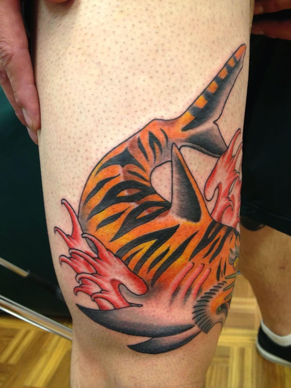 40 tiger shark tattoos designs ideas for Cool tiger tattoos