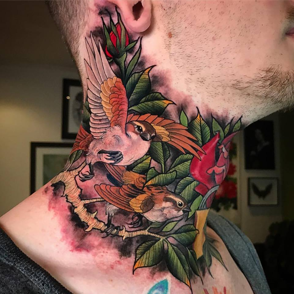 cd97a86e2bf70 Cool Two Flying Birds With Roses Tattoo On Man Right Side Neck