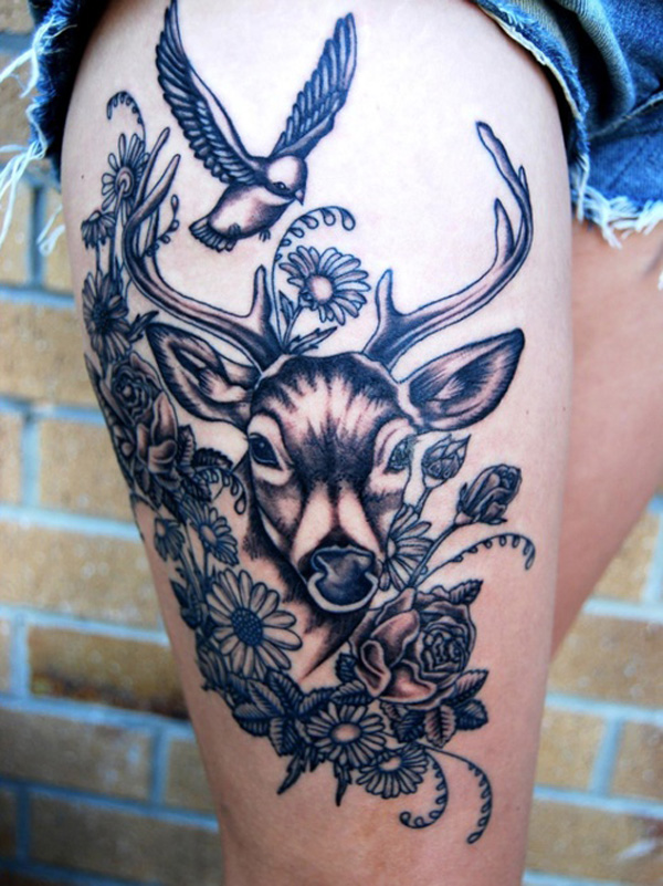 Daisy Thigh Tattoo: 60+ Deer Tattoos Ideas And Meanings