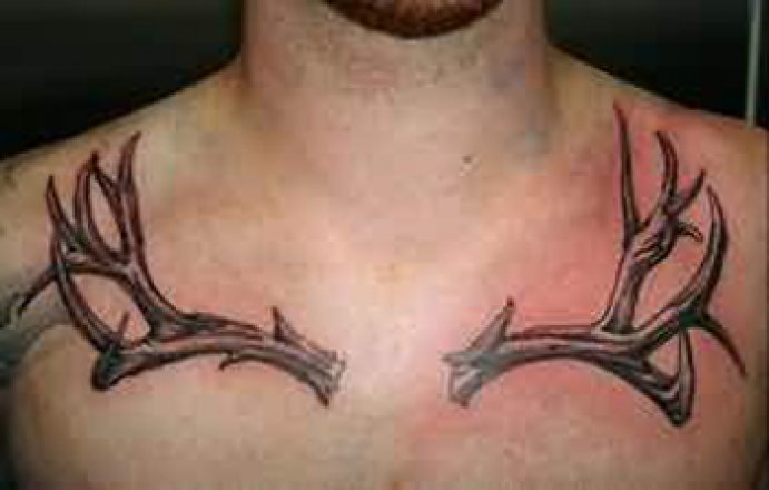 58 deer antler tattoos collection with meanings for Deer antlers tattoo