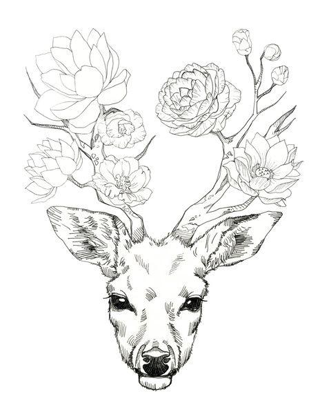 Floral Antler Tattoo: 23+ Deer Antler Tattoos Designs And Stencils