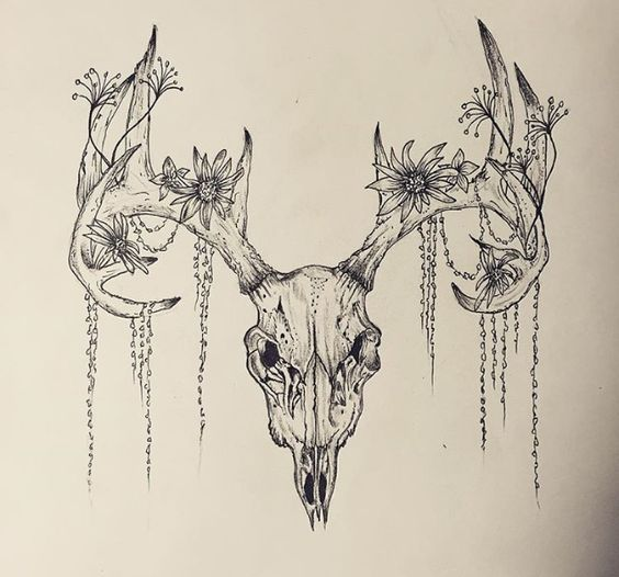 cc25bbda9e07f Deer Skull With Flowers Tattoo Design