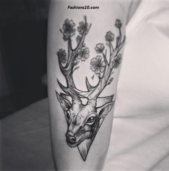 Deer Tattoo On Half Sleeve For Women