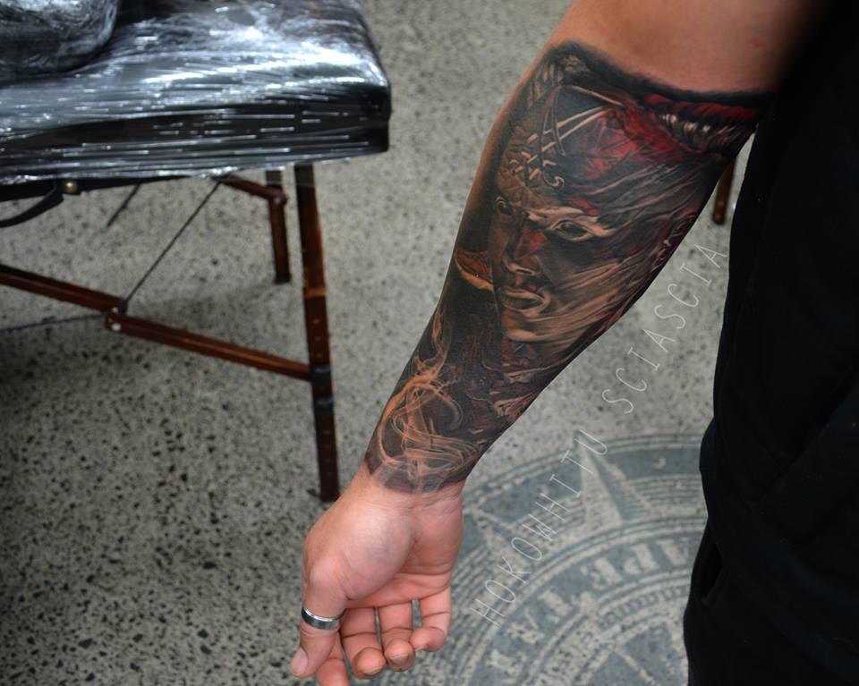 Devil Girl Face Tattoo On Right Forearm
