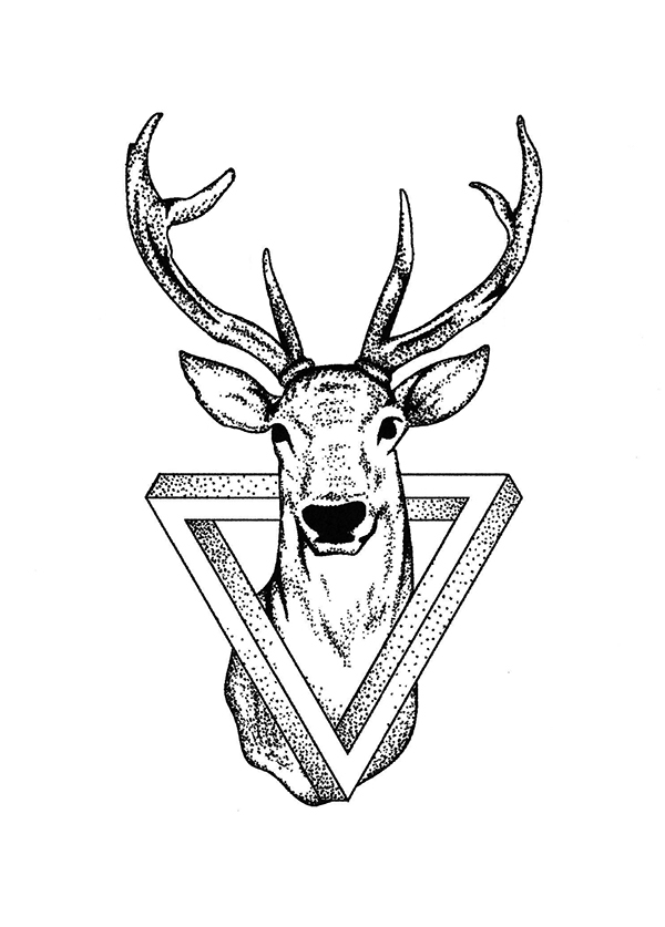 Line Drawing Tattoo Designs : Best geometric deer tattoos