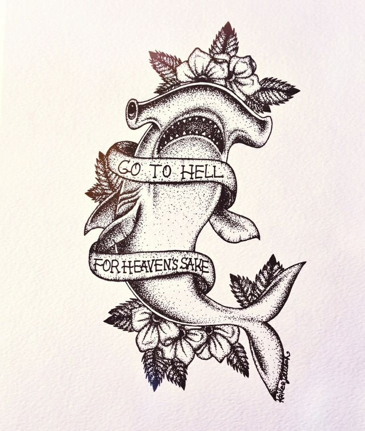 It is an image of Geeky Shark Tattoo Drawing