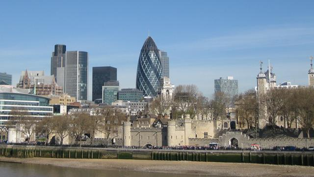 the gherkin building view across the river