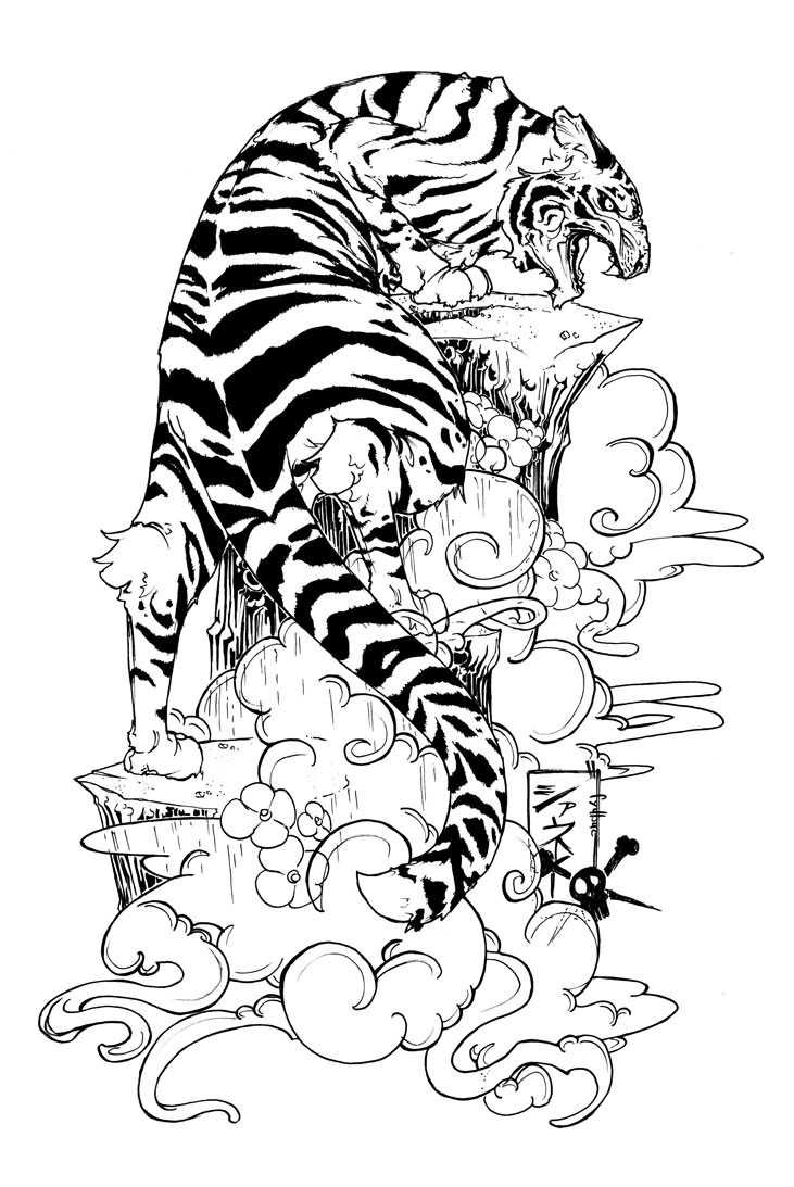 a568611d2 Flowers And Chinese Tiger Tattoo Design