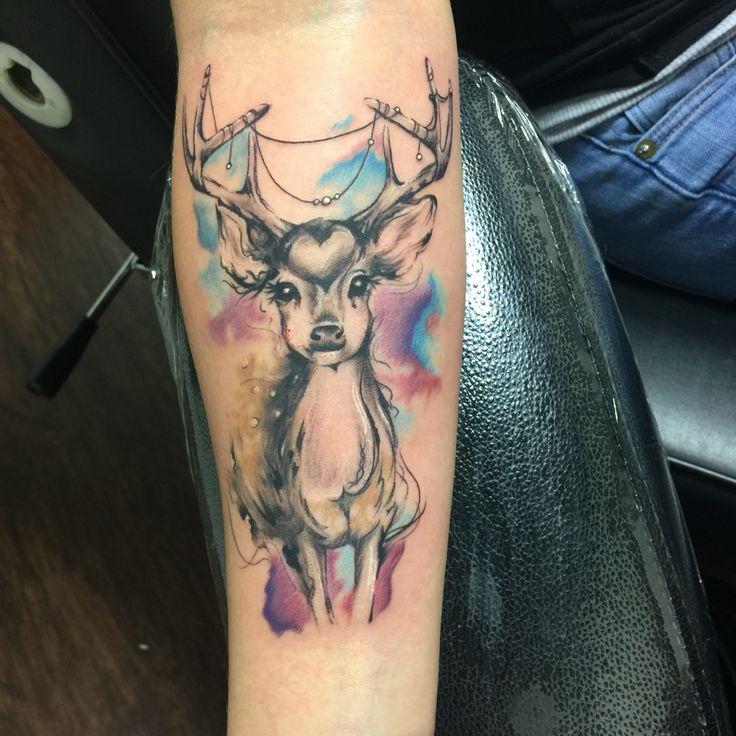 546298137 Forearm Colorful Deer Tattoo Idea