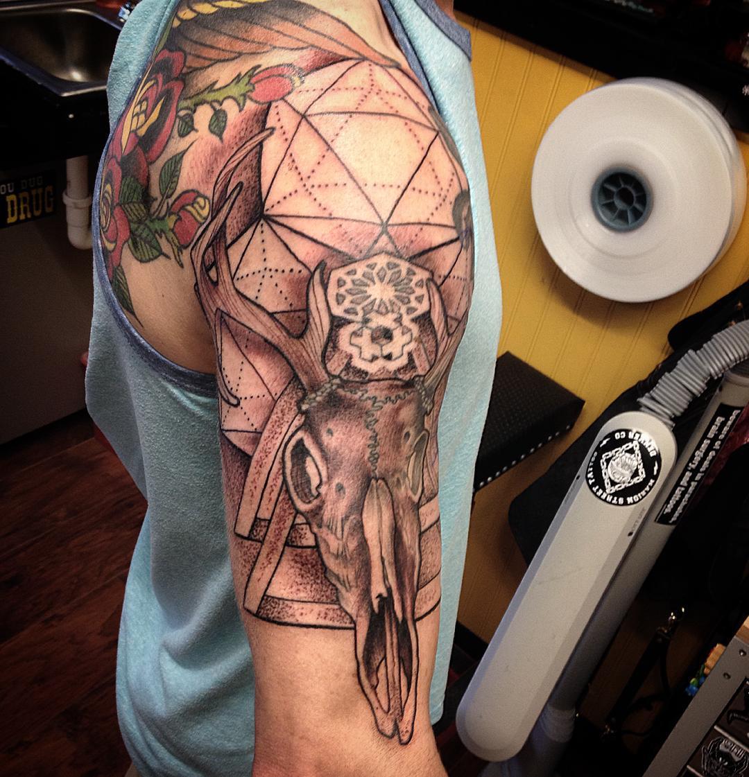 c8eeee6fd Geometric And Deer Skull Tattoo On Right Half Sleeve