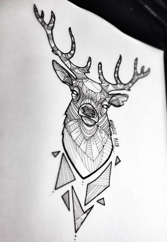 geometric deer head tattoo deign. Black Bedroom Furniture Sets. Home Design Ideas