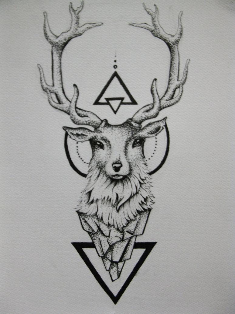 e94b88415e4bc Geometric Deer Tattoo Design by Duduarte