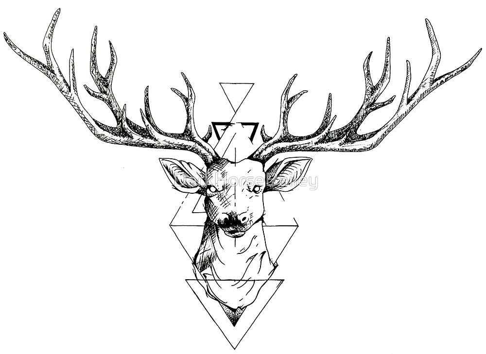 Line Art Deer : Best geometric deer tattoos
