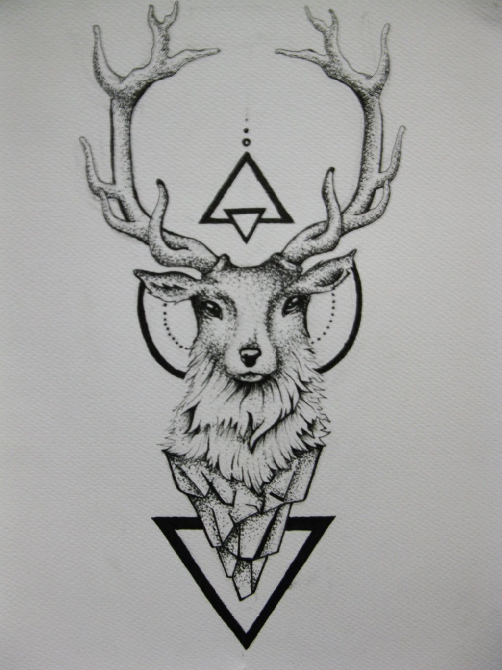 geometric triangles and deer head tattoo design rh askideas com Deer Skull Tattoos Deer Horn Tattoos
