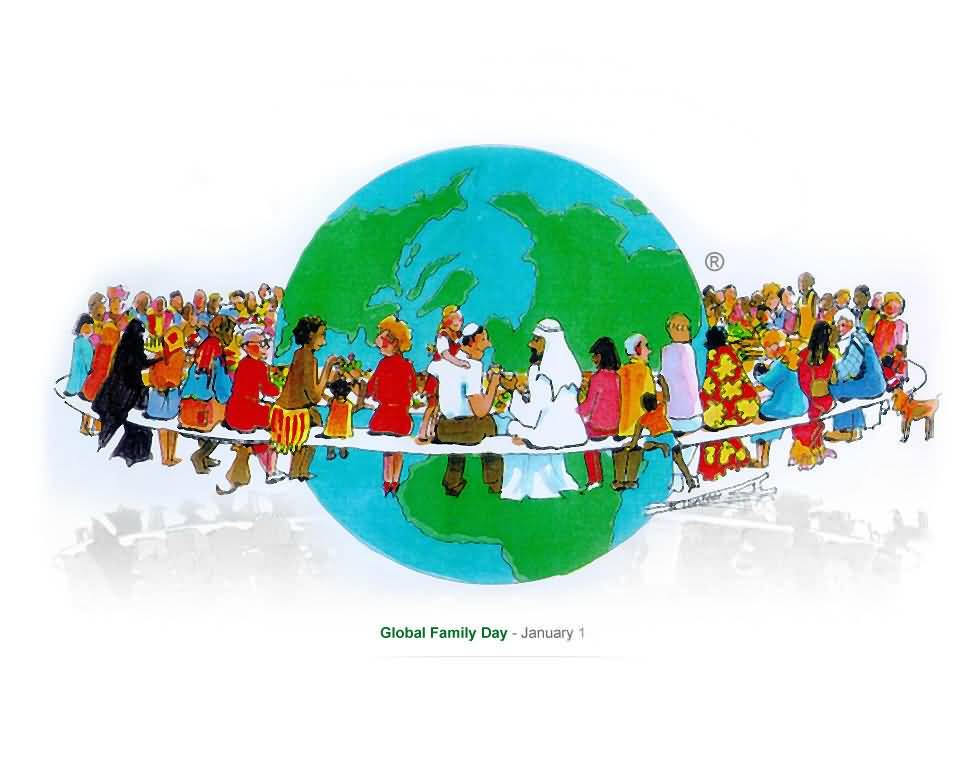 Global family day january 1 families around world illustration - Family days enero 2017 ...
