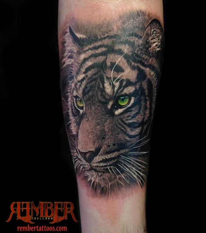 ae0502ebb Green Eyes Black And Grey Tiger Tattoo On Arm
