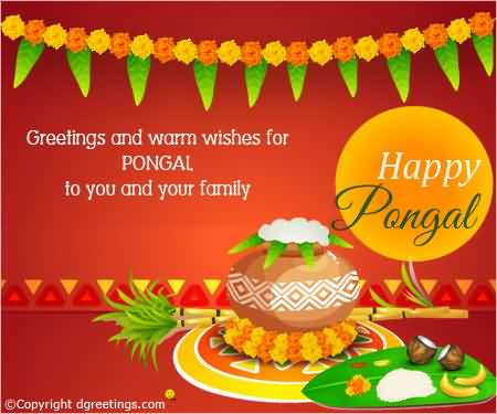 Greetings and warm wishes for pongal to you and your family happy greetings and warm wishes for pongal to you and your family happy pongal greeting card m4hsunfo