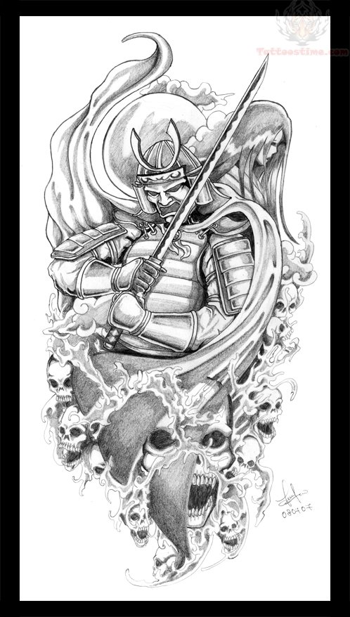 28 samurai swords tattoos designs and stencils for Dragon and samurai tattoo meaning