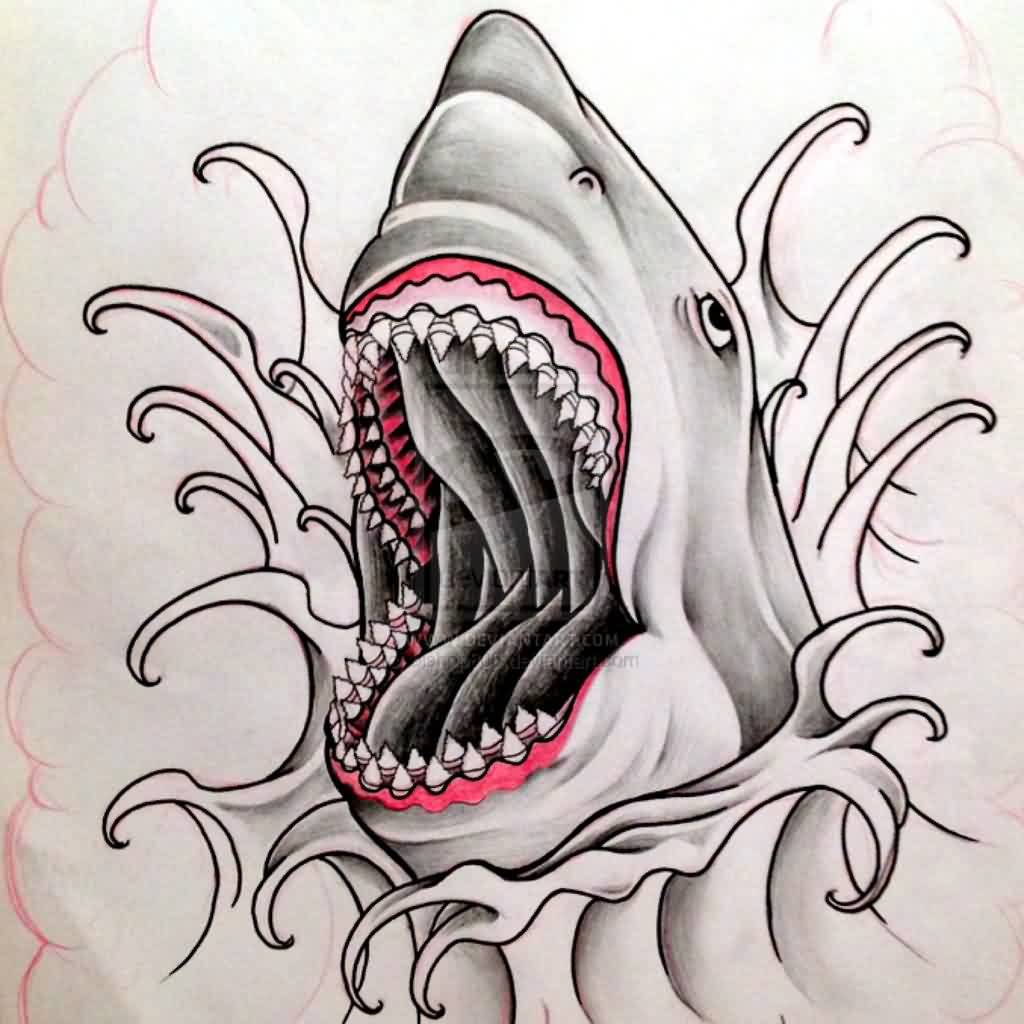 It's just a picture of Epic Shark Tattoo Drawing
