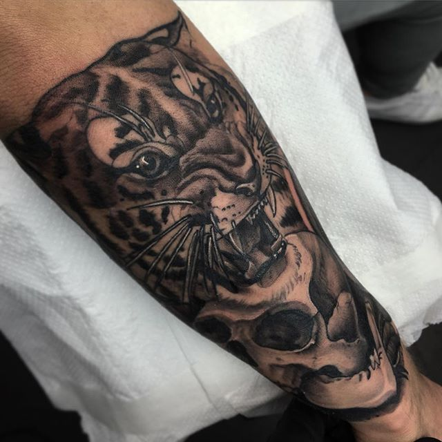d5889bbaa Grey Skull And Tiger Head Forearm Tattoo