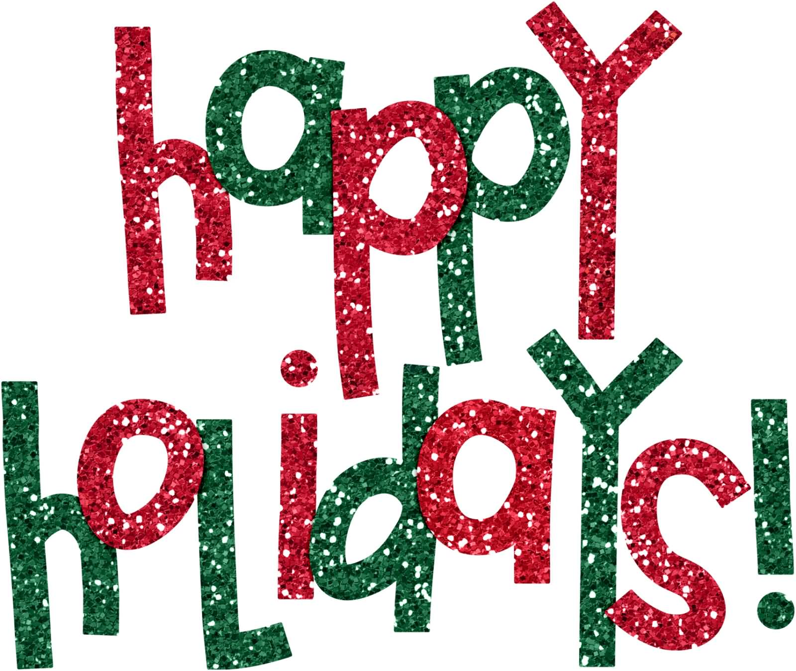 Happy Holiday Red And Green Sparkle Text