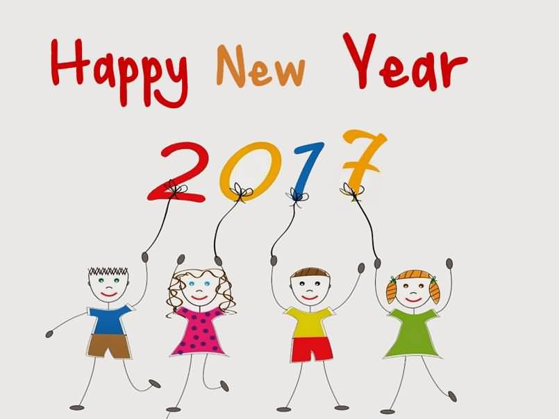 Happy New Year 2017 Kids Clipart