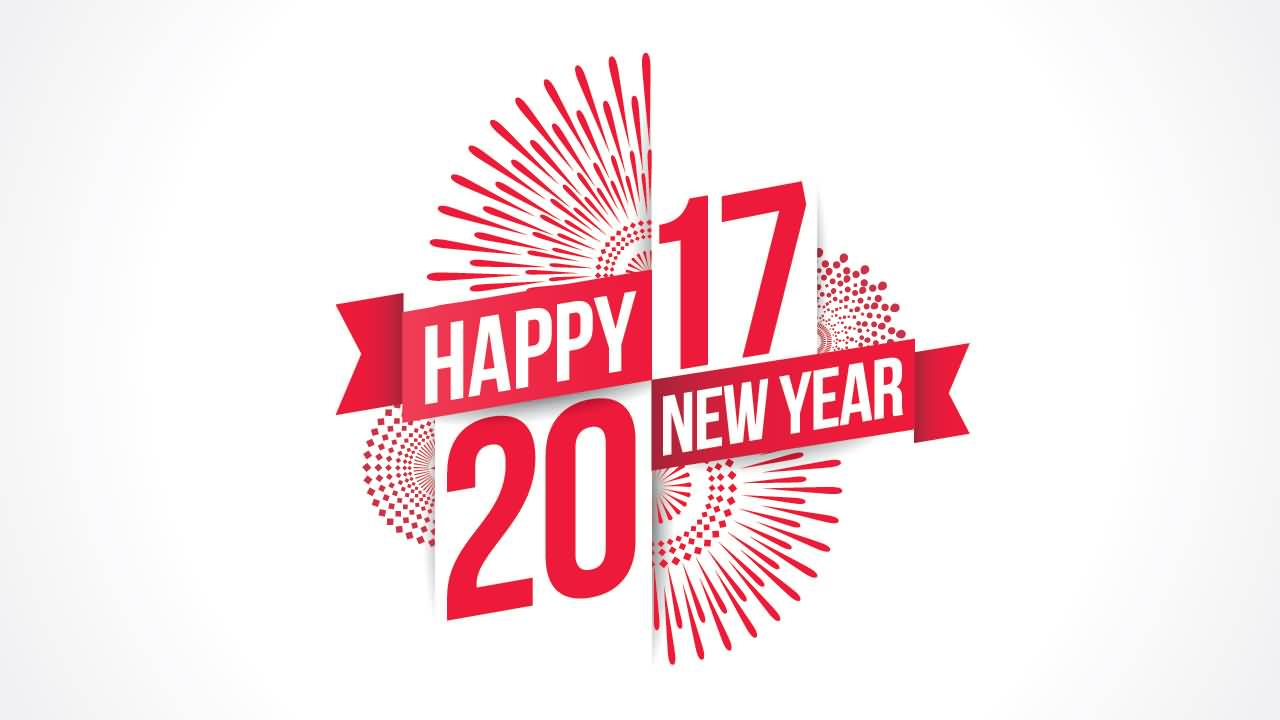 happy new year 2017 pink text wishes picture