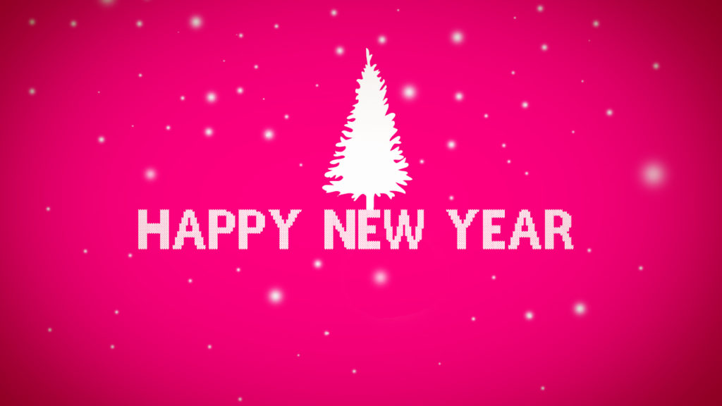 happy new year christmas tree on pink background