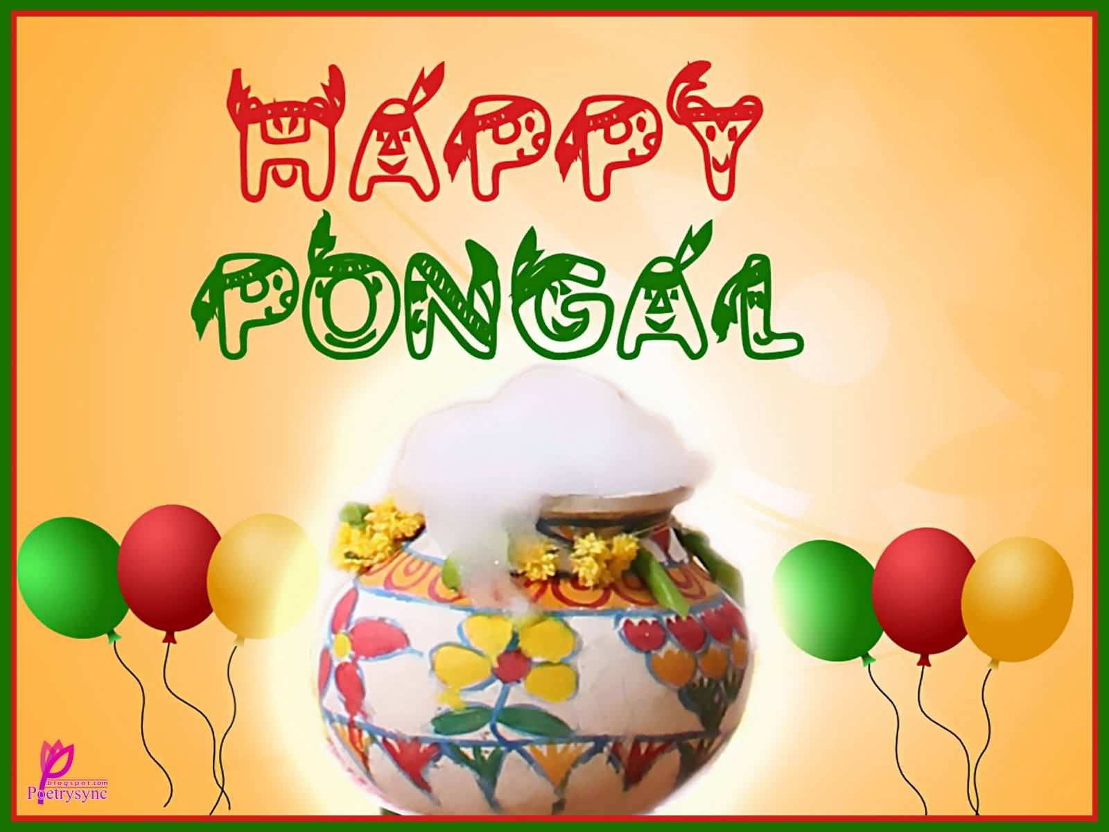 Happy Pongal Pot Full Of Milk With Balloons