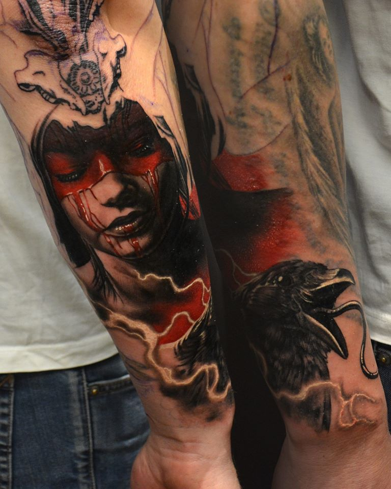 Horror girl face tattoo on man right arm for Asian face tattoos