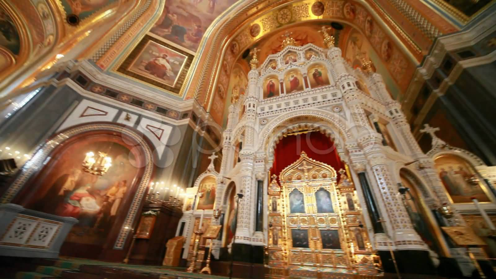 Iconostasis View Inside The Cathedral Of Christ The Saviour