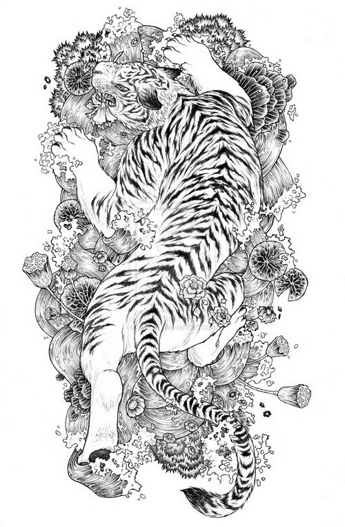 Japanese Flowers And Tiger Tattoo Design