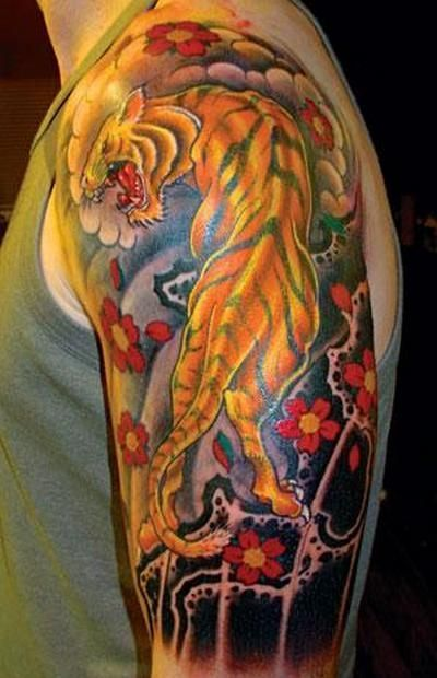 japanese tiger tattoo on left half sleeve. Black Bedroom Furniture Sets. Home Design Ideas