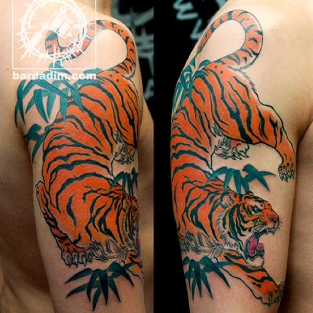 49c669772 Japanese Tiger Tattoo On Man Half Sleeve