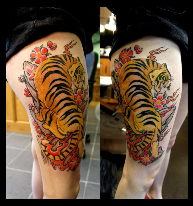 cb935f3f7 53+ Tiger Tattoos And Designs For Thigh