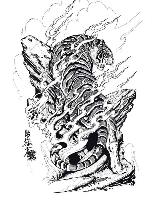 Japanese Tiger Tattoos Stencil