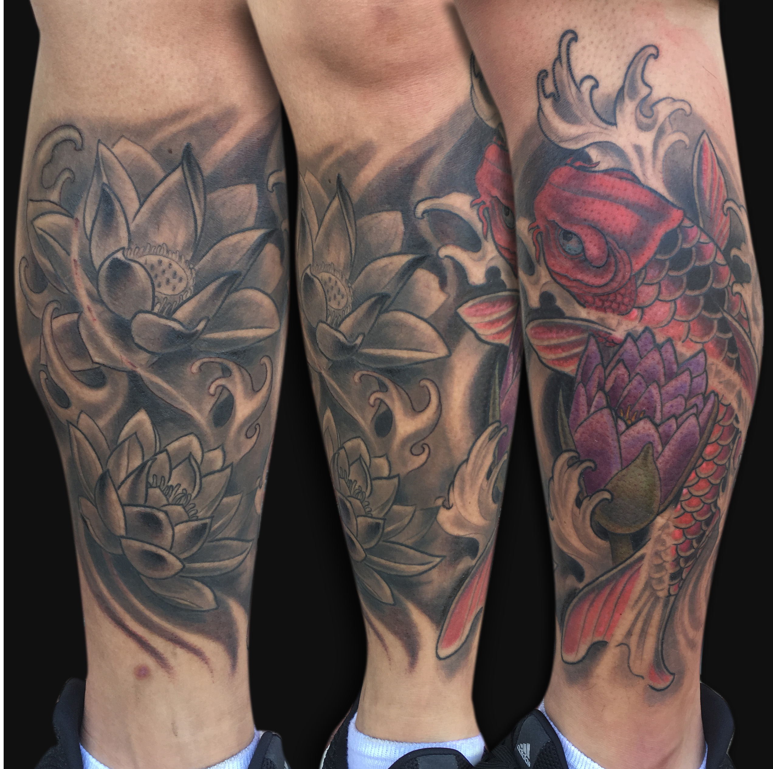 Koi Fish With Lotus Flower Tattoo On Leg By Spencer Caligiuri