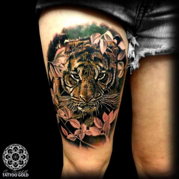 Triangle and tiger tattoo on thigh by karolina vladimirovna for Tiger thigh tattoos