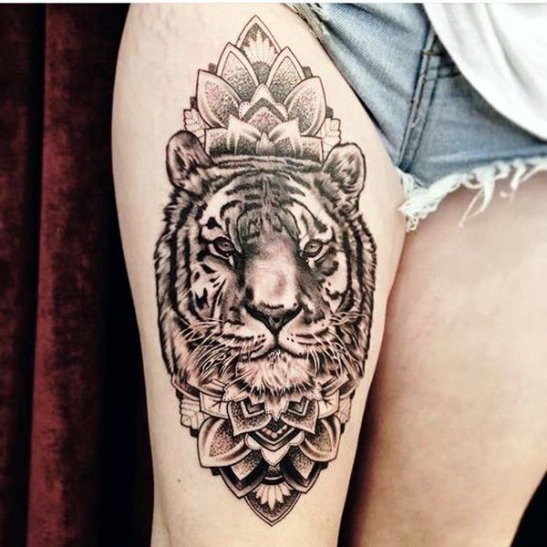 53 tiger tattoos and designs for thigh for Mandala hip tattoo